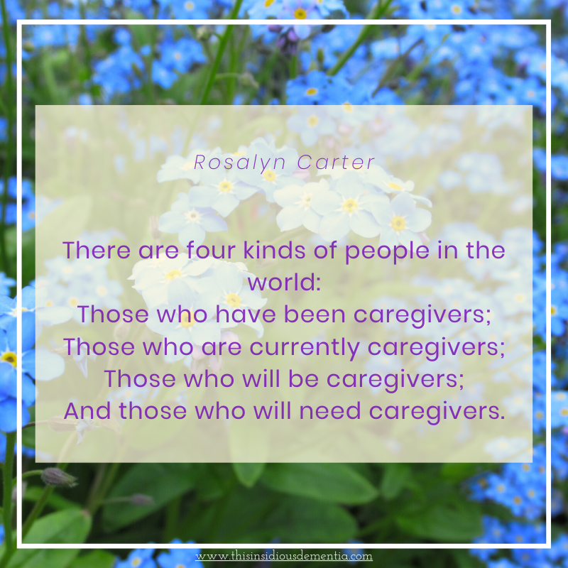 Rosalyn Carter caregiving quote on bed of forget me nots
