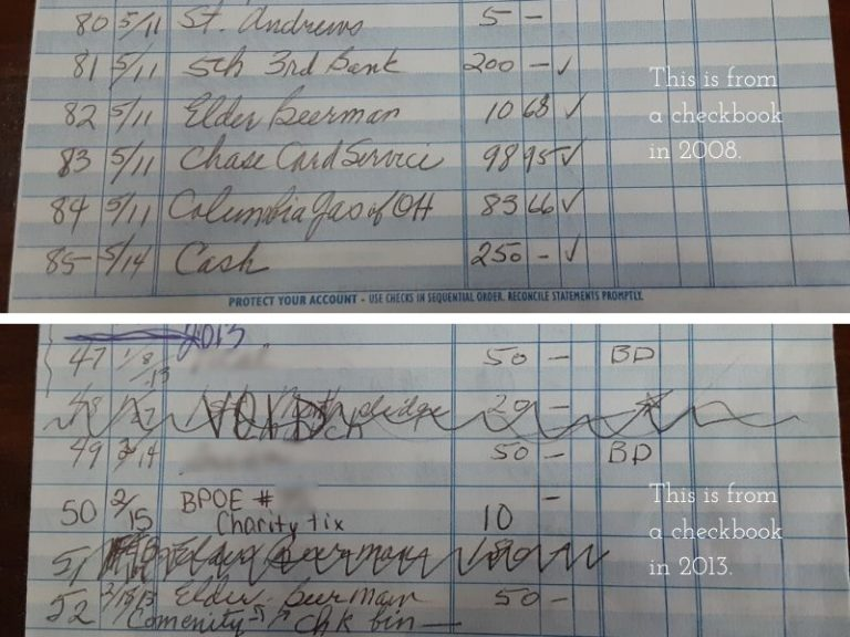photo showing checkbook pages of a loved one with dementia