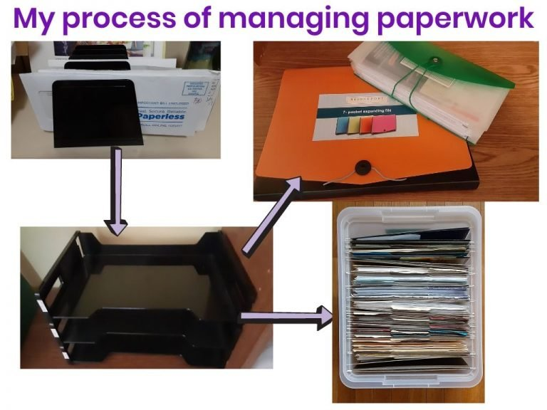 My bill sorter, in box and files for paid bills
