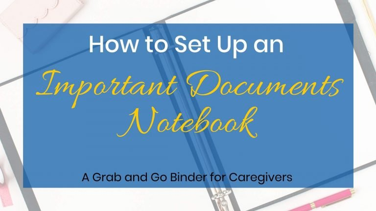 Setting up an important documents notebook written over a picture of a notebook