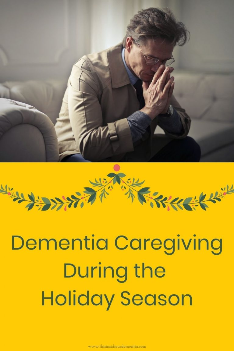 man sitting on sofa looking very stressed with a Christmas banner below with the words Dementia Caregiving During the Holiday Season written below
