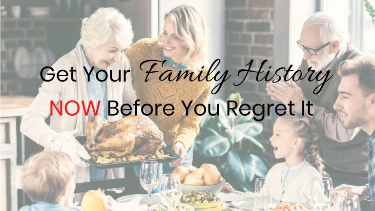 Family sitting at table with grey haired woman serving a turkey