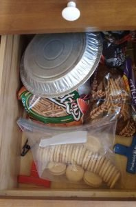 Pie plate put away in snack drawer