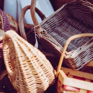 Collection of various baskets some with sales tags